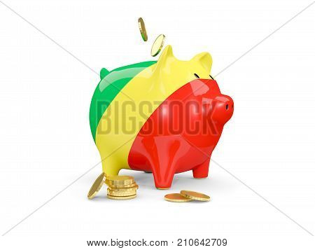 Fat Piggy Bank With Fag Of Republic Of The Congo