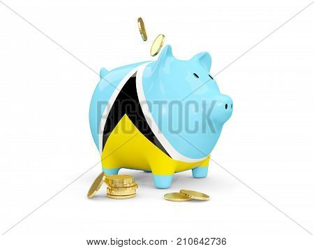 Fat Piggy Bank With Fag Of Saint Lucia
