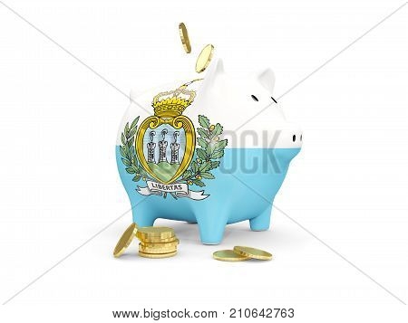 Fat Piggy Bank With Fag Of San Marino