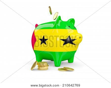 Fat Piggy Bank With Fag Of Sao Tome And Principe