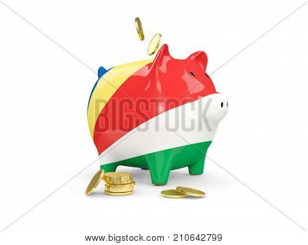 Fat Piggy Bank With Fag Of Seychelles