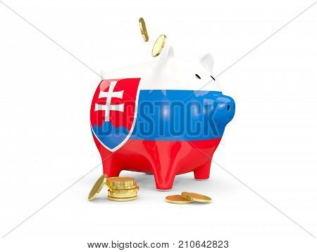 Fat Piggy Bank With Fag Of Slovakia