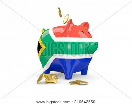 Fat Piggy Bank With Fag Of South Africa