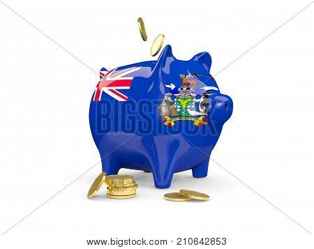 Fat Piggy Bank With Fag Of South Georgia And The South Sandwich Islands