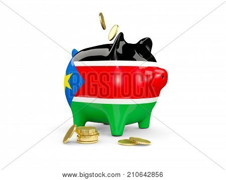 Fat Piggy Bank With Fag Of South Sudan