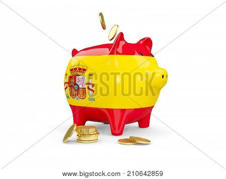 Fat Piggy Bank With Fag Of Spain