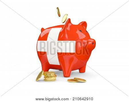 Fat Piggy Bank With Fag Of Switzerland