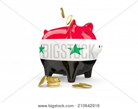 Fat Piggy Bank With Fag Of Syria