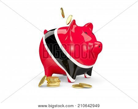 Fat Piggy Bank With Fag Of Trinidad And Tobago