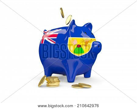 Fat piggy bank with fag of turks and caicos islands and money isolated on white. 3D illustration poster