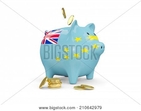 Fat Piggy Bank With Fag Of Tuvalu