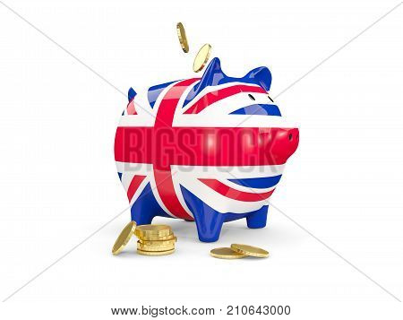 Fat Piggy Bank With Fag Of United Kingdom