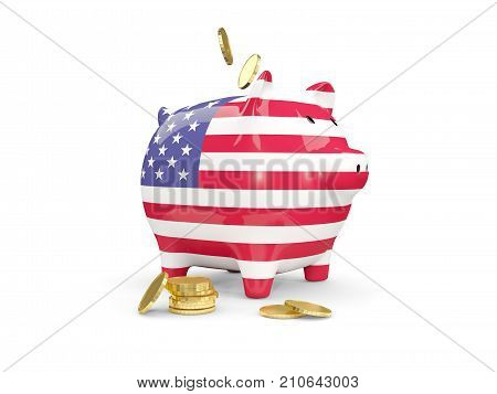 Fat Piggy Bank With Fag Of United States Of America