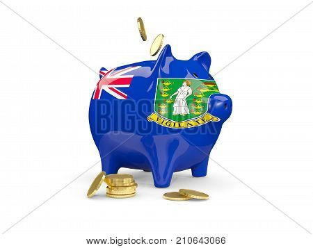 Fat Piggy Bank With Fag Of Virgin Islands British