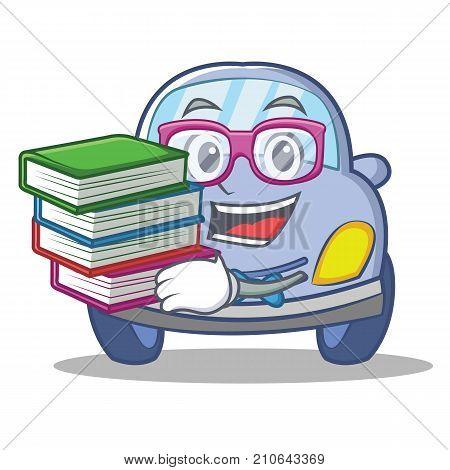 Geek cute car character cartoon vector illustration
