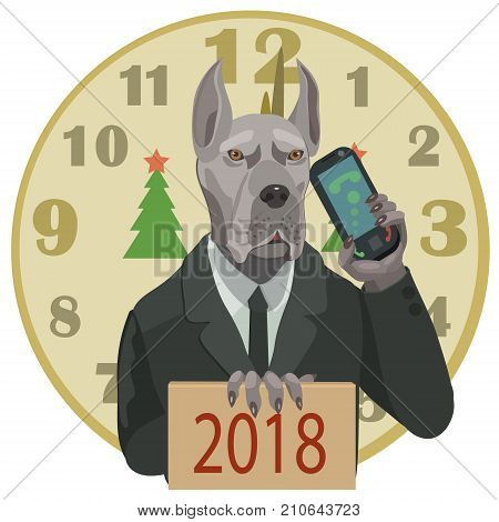 Dog great Dane with a mobile phone wishes all a happy new year 2018 the clock struck twelve and there came the dog year!