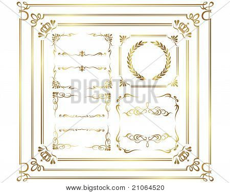 vector set: gold calligraphic elements and page decoration ©