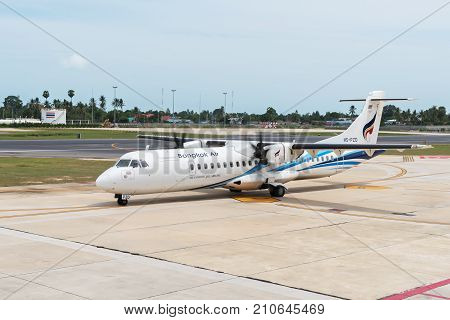 Koh Samui Island, Thailand - June 15, 2017: Bangkok Airways Airplane in Samui International Airport