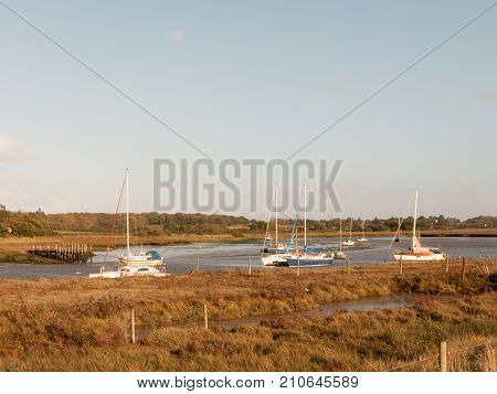 Soft Light Harbor Scene Private Boats Parked In Estuary