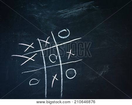 Tic Tac Toe game on the blackboard. It is a strategic game for two players who want to win.