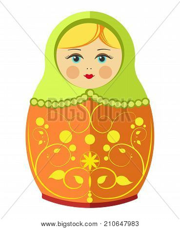 Matryoshka doll or Russian nesting doll with ornament decoration pattern. Vector flat decorative isolated traditional Russia wooden doll toy souvenir