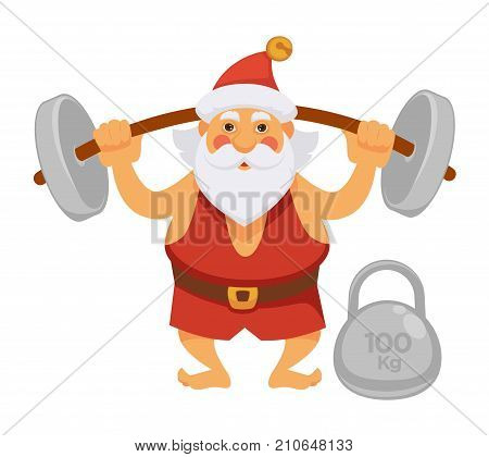 Santa making gym sport exercise cartoon character. Santa with barbell and dumbbell bodybuilding in daily life routine activity. Vector isolated flat icon for Christmas, New Year greeting card design