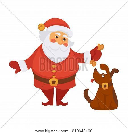 Santa playing dog pet cartoon character. Santa training dog with bone treatment in daily life routine activity. Vector isolated flat icon for Christmas, New Year greeting card design
