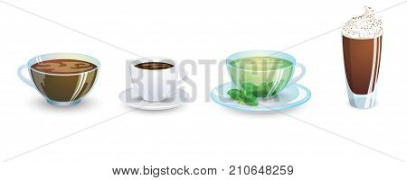 A set of cups with various hot drinks isolated on a white background. Coffee and tea. Vector illustration