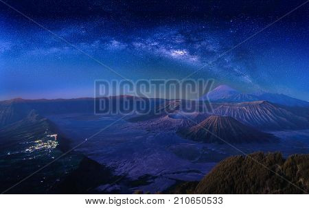 Landscape with Milky way galaxy over Mount Bromo volcano (Gunung Bromo) in Bromo Tengger Semeru National Park East Java Indonesia. Night sky with stars. Long exposure photograph.