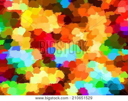 Multicolored abstract background of color patches of red, orange, yellow, green and blue shades