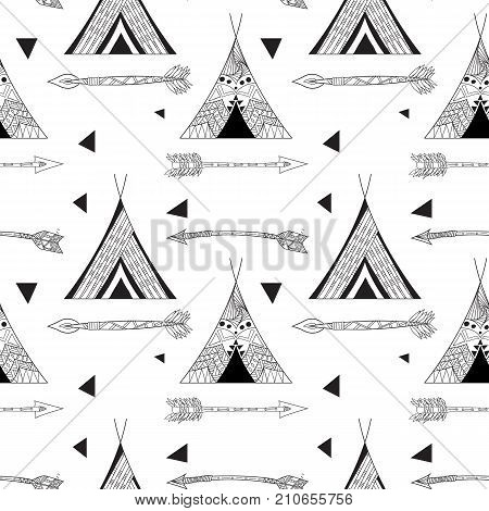 Sketches vector seamless pattern. Wigwam native american tent illustration. Black and white illustration.