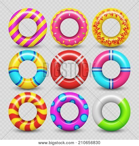 Colorful realistic rubber swimming rings isolated on transparent background. Vector illustration