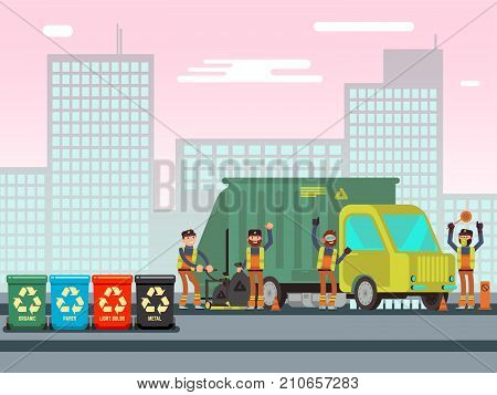 Recycle waste bins with different waste types. Waste management concept with sanitation workers, garbage truck and trash bins. Vector illustration