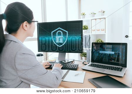 Woman Processed Online Information Security