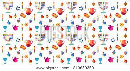 Jewish holiday Hanukkah seamless background with traditional Chanukah symbols - wooden dreidels (spinning top), donuts, menorah, oil jar, candles, star of David and glowing lights doodle pattern. Vector template border decoration
