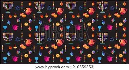 Jewish holiday Hanukkah background with traditional Chanukah symbols - wooden dreidels (spinning top), donuts, menorah, candles, star of David and lights, modern decorative pattern.