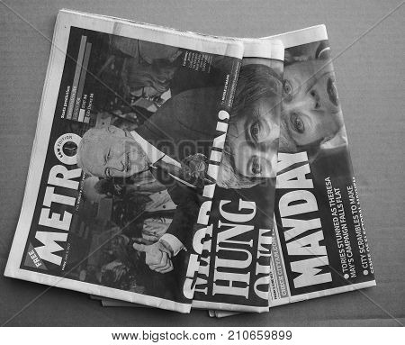 Newspapers Showing Theresa May And Jeremy Corbyn Black And White