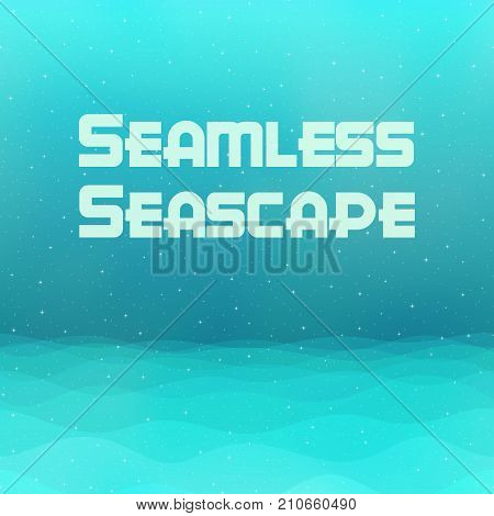 Horizontal Seamless Landscape, Light Blue and Green Seascape, Silent Sea and Sky with Stars, Nature Tile Background for Your Design. Eps10, Contains Transparencies. Vector
