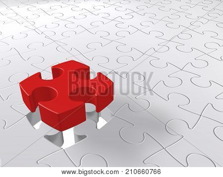 Puzzle piece coming down into last free place, 3D illustration