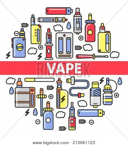 Vape shop poster of electronic cigarettes, smoking or vaping accessory and aroma capsule cartridge. Vector outline icons of modern vape smoking e-cigarette types of shisha or hookah