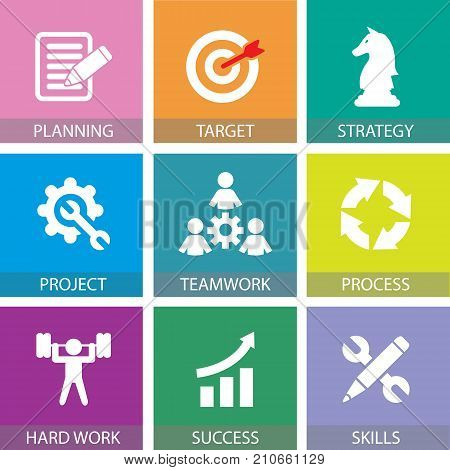 Business Teamwork Team Hard Work Concept. Vector Illustration