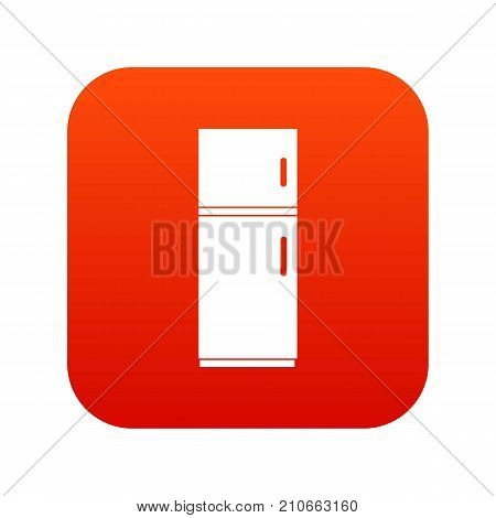 Refrigerator icon digital red for any design isolated on white vector illustration