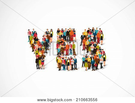 Group of people standing in a word Yes. Vector illustration on white background. The concept of consent