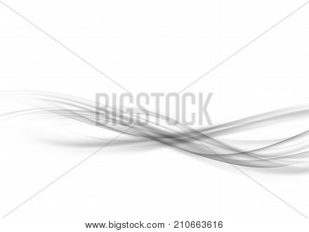 Beautiful abstract futuristic smoke swoosh wave artistic fashion line transparent layout. Liquid silver futuristic high-tech smoke stream border over white background. Vector illustration