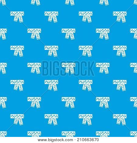 Knitted scarf with pattern pattern repeat seamless in blue color for any design. Vector geometric illustration