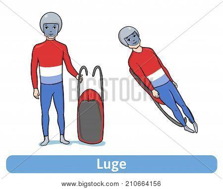Athlete Luger. Young man with sledge standing and in motion. Winter sport, Luge. Vector Illustration, isolated on white background.