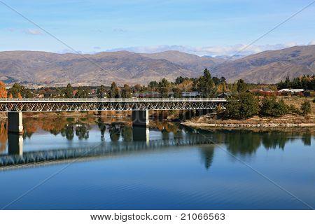 road bridge over dunstan lake near Queenstown New Zealand poster