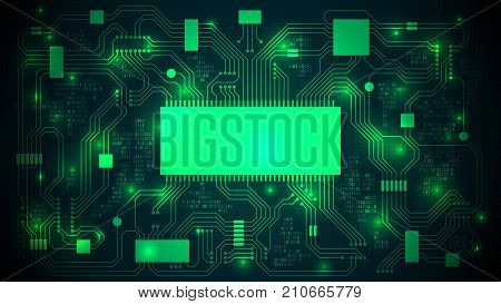 Printed circuit board with a processor microchips and binary code. Abstract high-tech electronic background copy space template; well organized layers