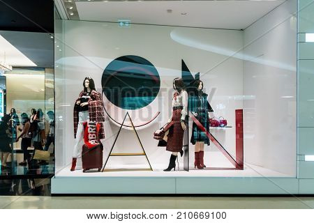 Chanel shop at Emquatier Bangkok Thailand Sep 23 2017 : Luxury and fashionable brand window display. New Fall collection clothings and accessories showcase at flagship store. Perspective view.