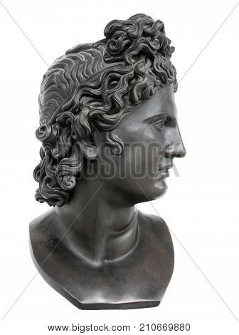 Bronze statue of Appollo against white background. Apollo in classical Greek and Roman mythology is a god of music truth and prophecy healing the sun and light plague and poetry.
